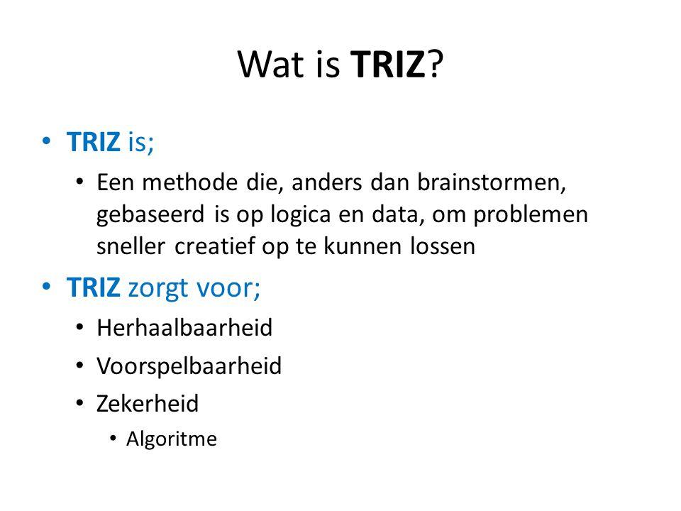 Wat is TRIZ TRIZ is; TRIZ zorgt voor;