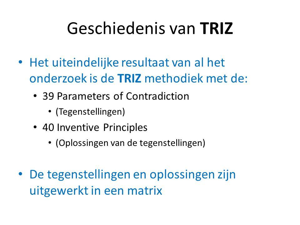 Geschiedenis van TRIZ Het uiteindelijke resultaat van al het onderzoek is de TRIZ methodiek met de: