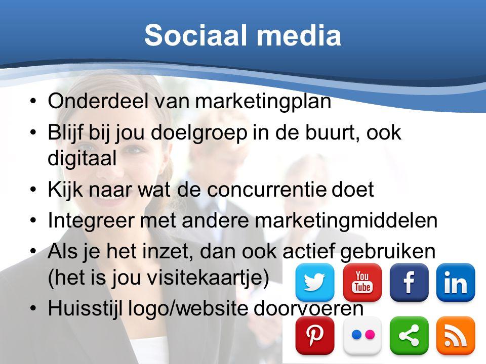Sociaal media Onderdeel van marketingplan
