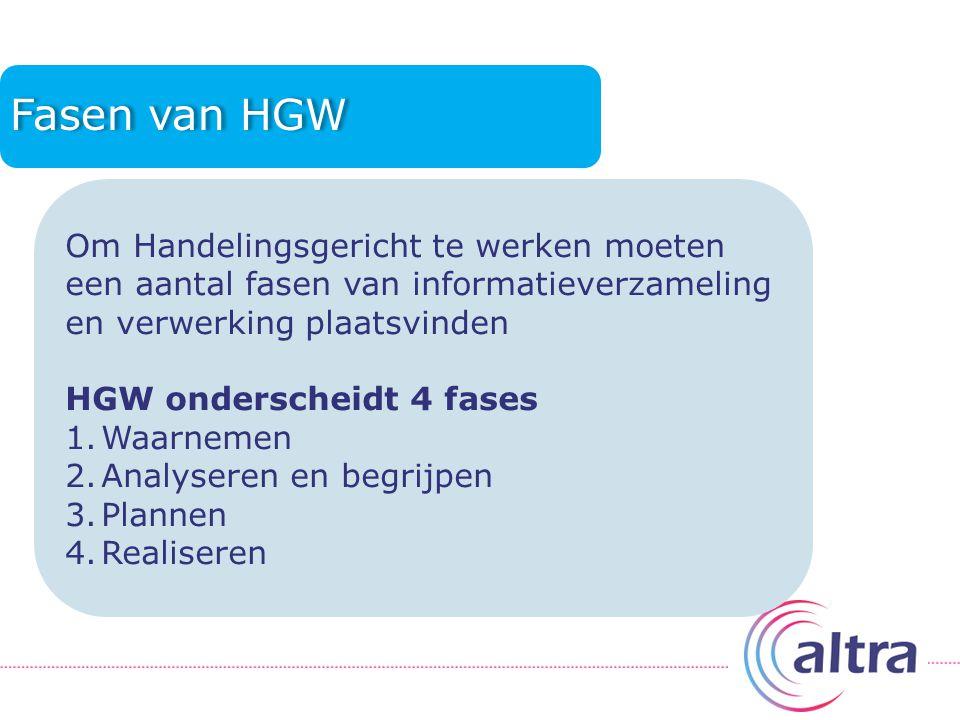 Fasen van HGW Om Handelingsgericht te werken moeten een aantal fasen van informatieverzameling en verwerking plaatsvinden.