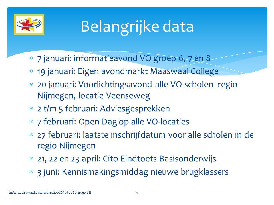 Belangrijke data 7 januari: informatieavond VO groep 6, 7 en 8