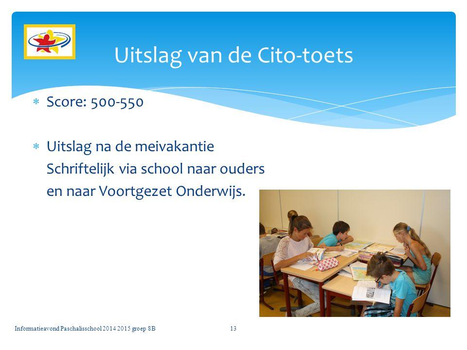 Uitslag van de Cito-toets