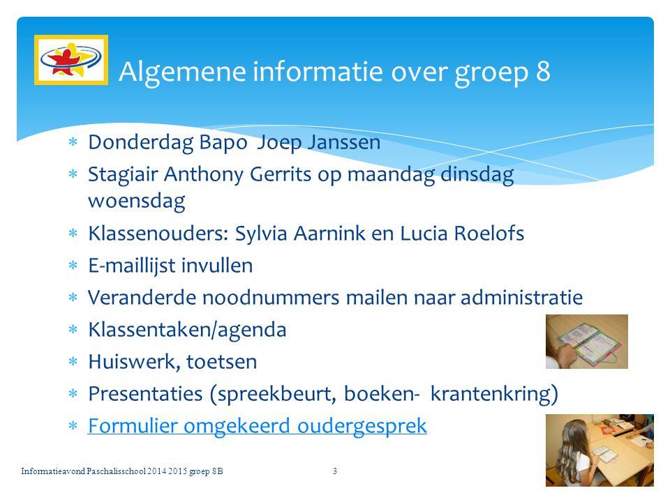 Algemene informatie over groep 8