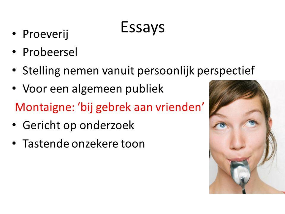 Essays Proeverij Probeersel