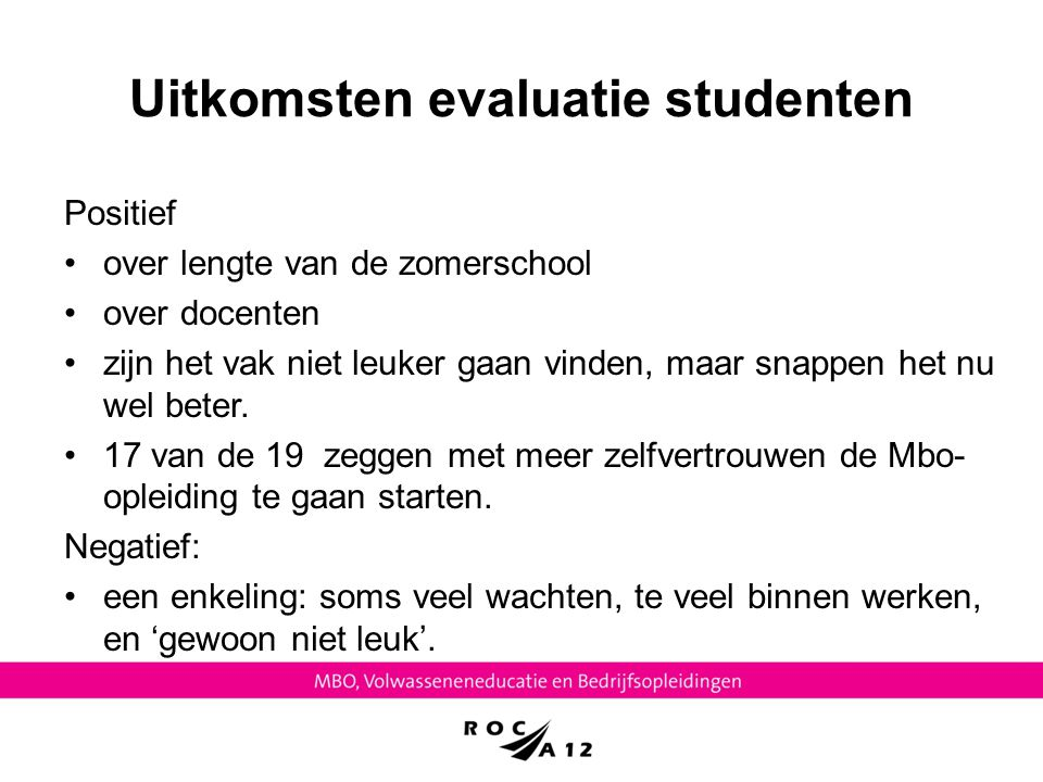 Uitkomsten evaluatie studenten