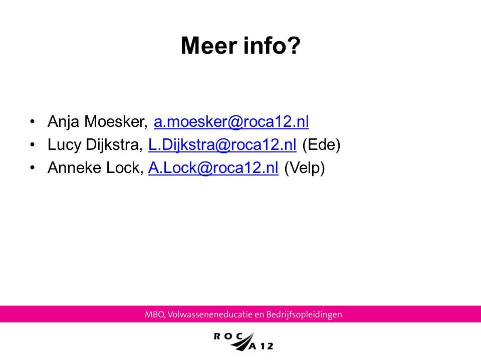 Meer info Anja Moesker, a.moesker@roca12.nl