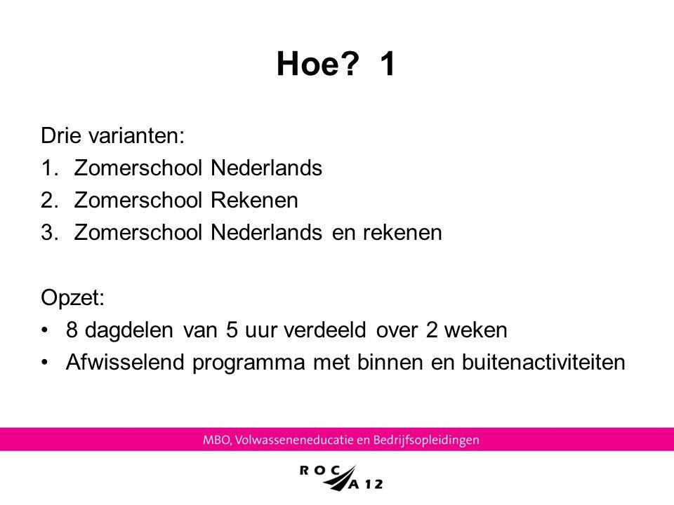 Hoe 1 Drie varianten: Zomerschool Nederlands Zomerschool Rekenen