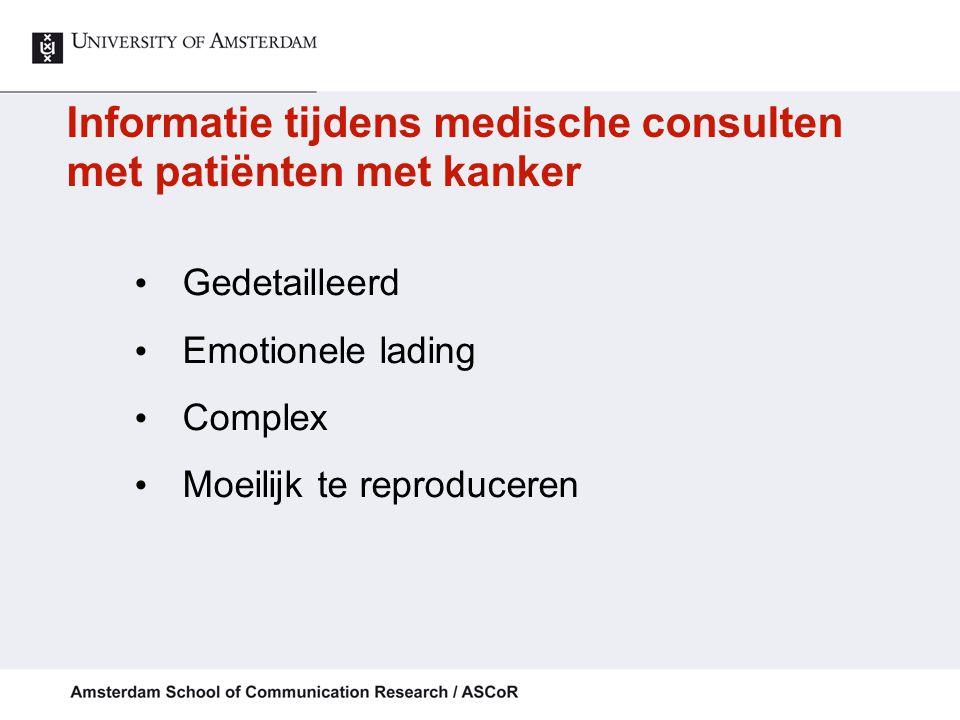 Informatie tijdens medische consulten met patiënten met kanker