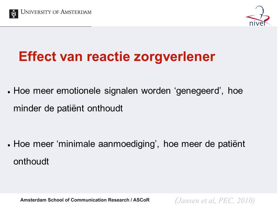 Effect van reactie zorgverlener
