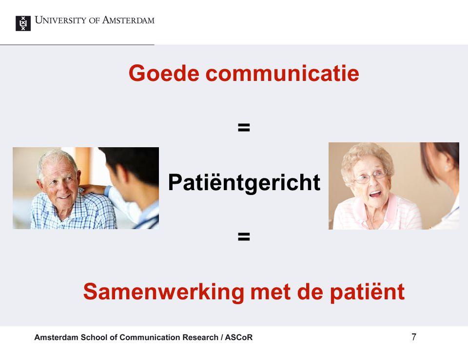 Goede communicatie = Patiëntgericht = Samenwerking met de patiënt