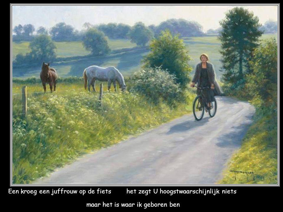 Een kroeg een juffrouw op de fiets