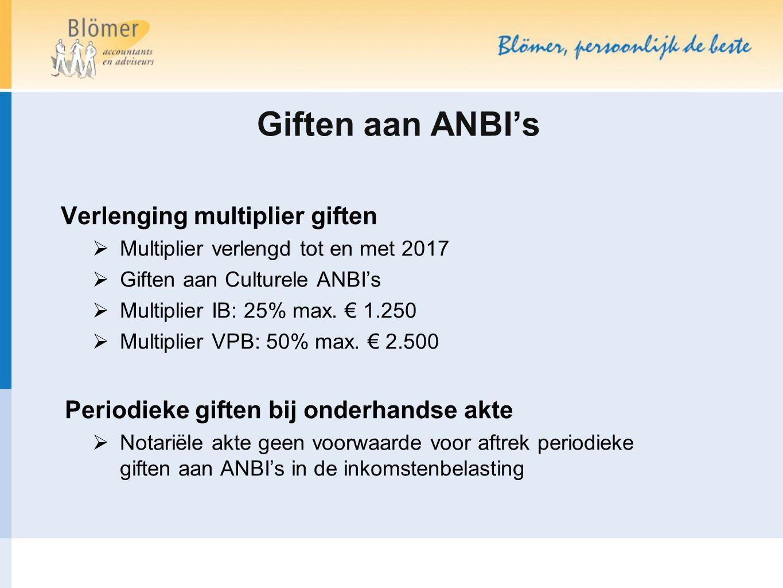 Giften aan ANBI's Verlenging multiplier giften