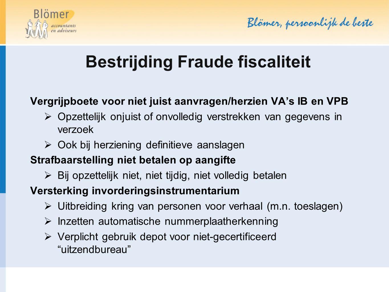 Bestrijding Fraude fiscaliteit
