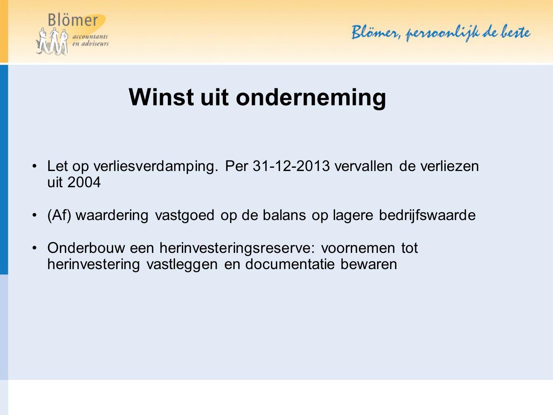 Winst uit onderneming Let op verliesverdamping. Per 31-12-2013 vervallen de verliezen uit 2004.