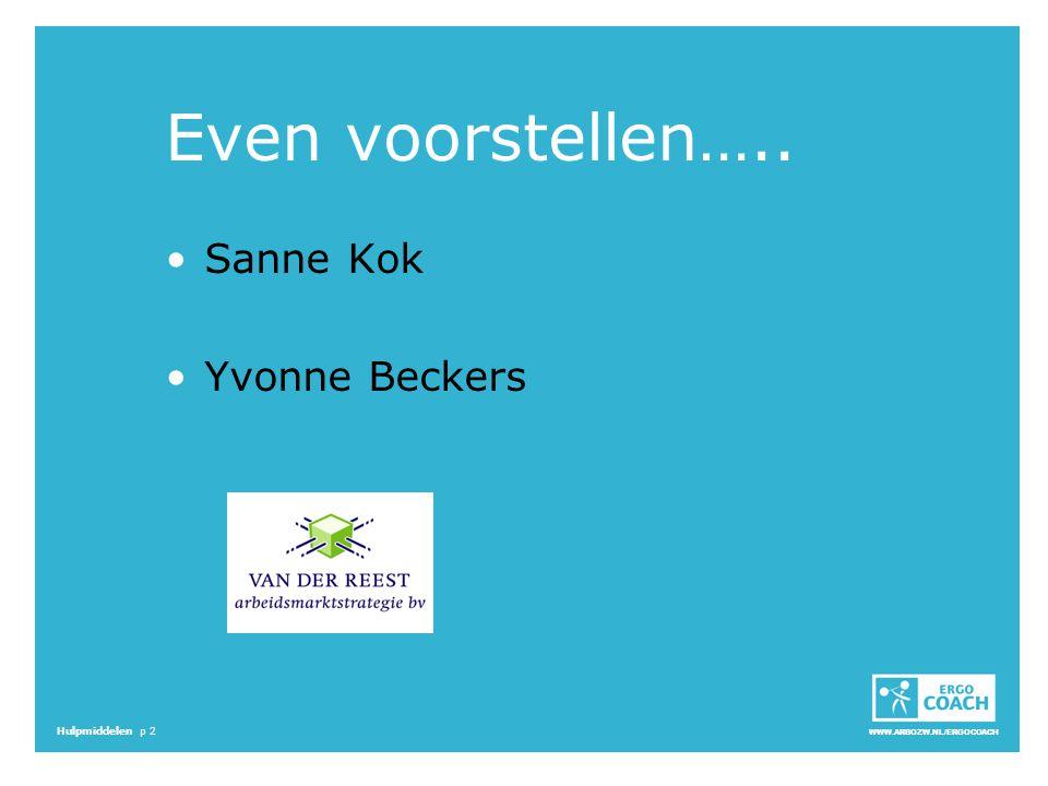 Even voorstellen….. Sanne Kok Yvonne Beckers Start 16.00 - 16.05