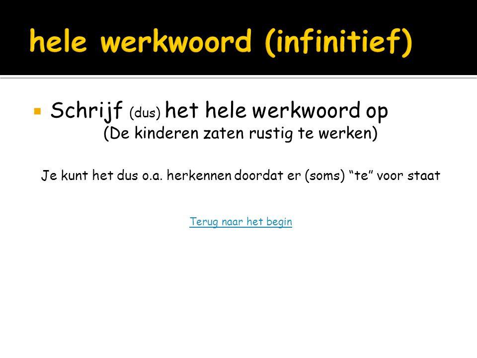 hele werkwoord (infinitief)