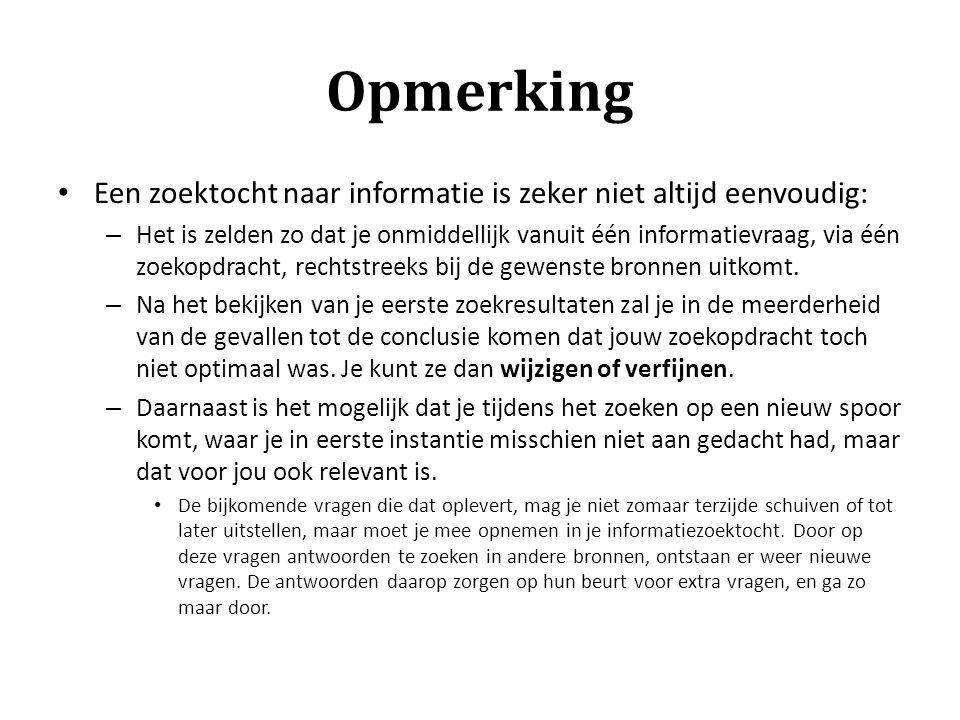 Opmerking Een zoektocht naar informatie is zeker niet altijd eenvoudig:
