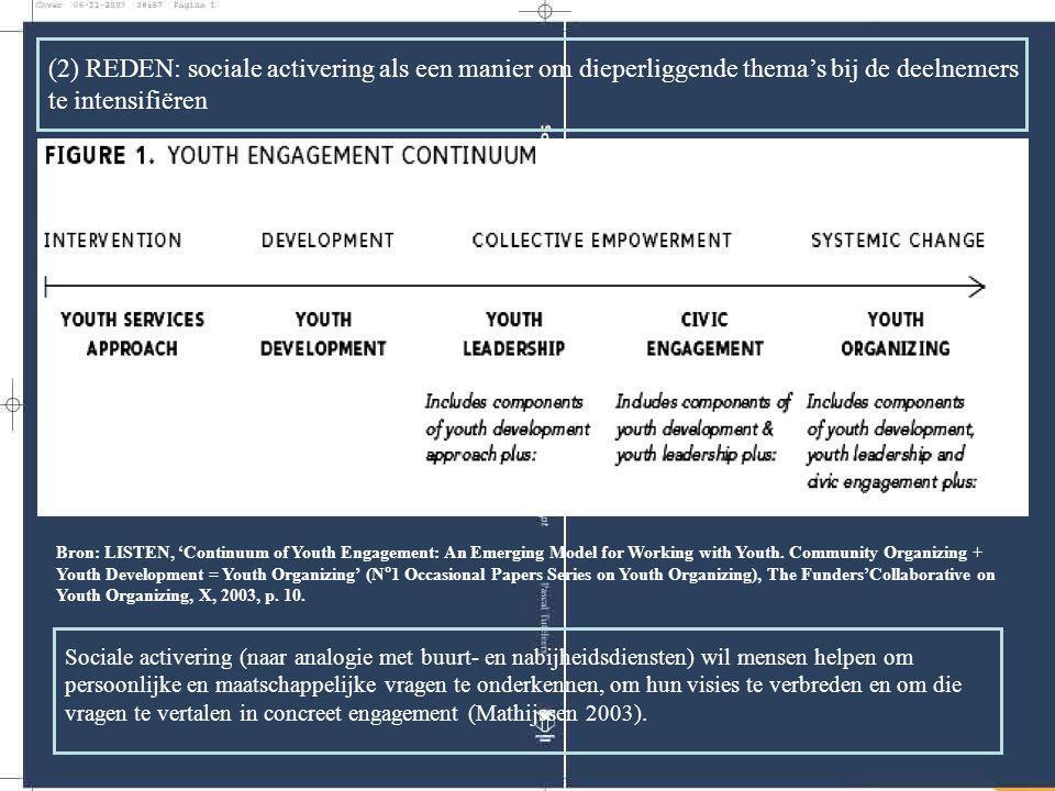 (2) REDEN: sociale activering als een manier om dieperliggende thema's bij de deelnemers te intensifiëren