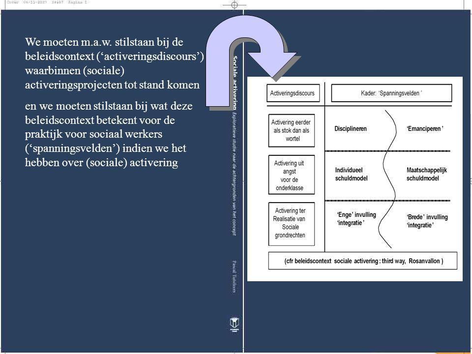 We moeten m.a.w. stilstaan bij de beleidscontext ('activeringsdiscours') waarbinnen (sociale) activeringsprojecten tot stand komen