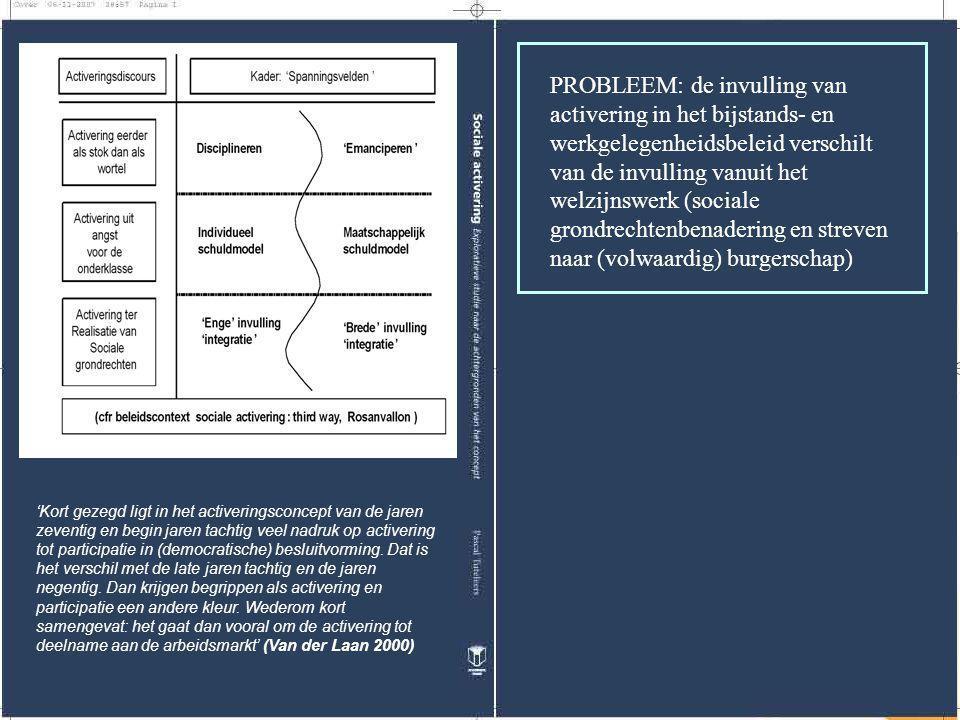 PROBLEEM: de invulling van activering in het bijstands- en werkgelegenheidsbeleid verschilt van de invulling vanuit het welzijnswerk (sociale grondrechtenbenadering en streven naar (volwaardig) burgerschap)