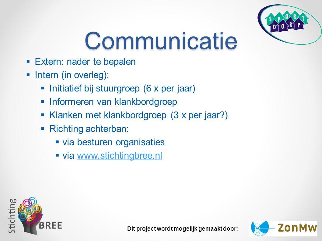 Communicatie Extern: nader te bepalen Intern (in overleg):