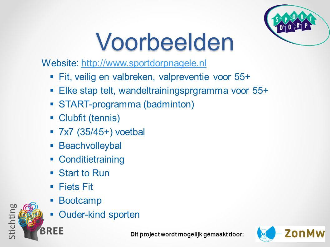 Voorbeelden Website: http://www.sportdorpnagele.nl