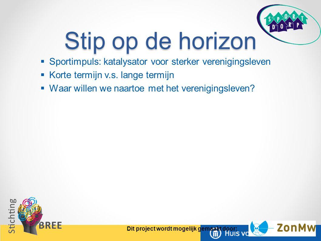 Stip op de horizon Sportimpuls: katalysator voor sterker verenigingsleven. Korte termijn v.s. lange termijn.