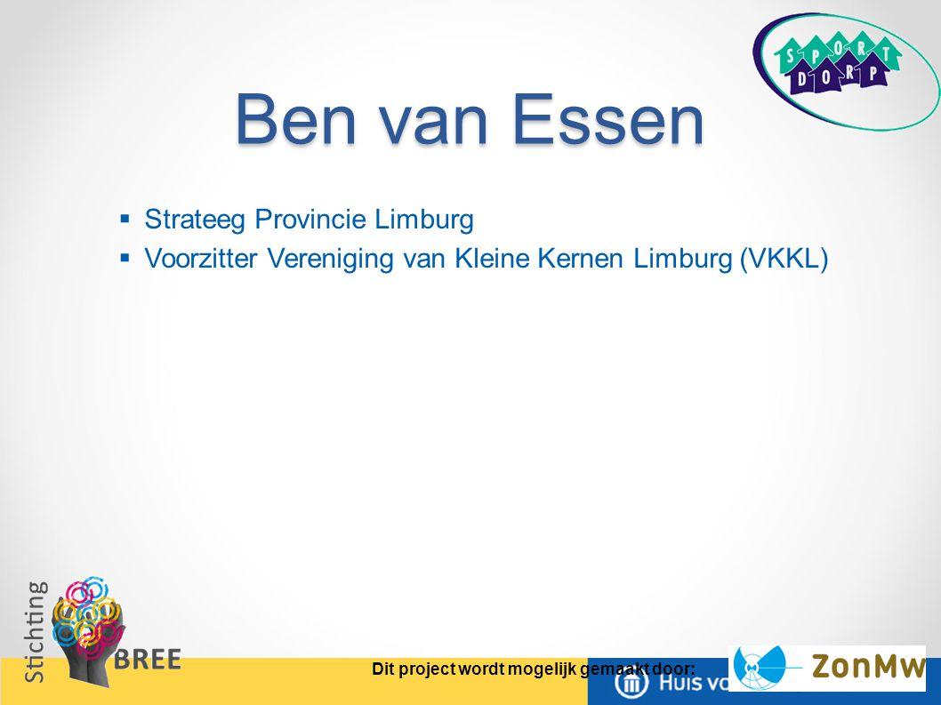 Ben van Essen Strateeg Provincie Limburg