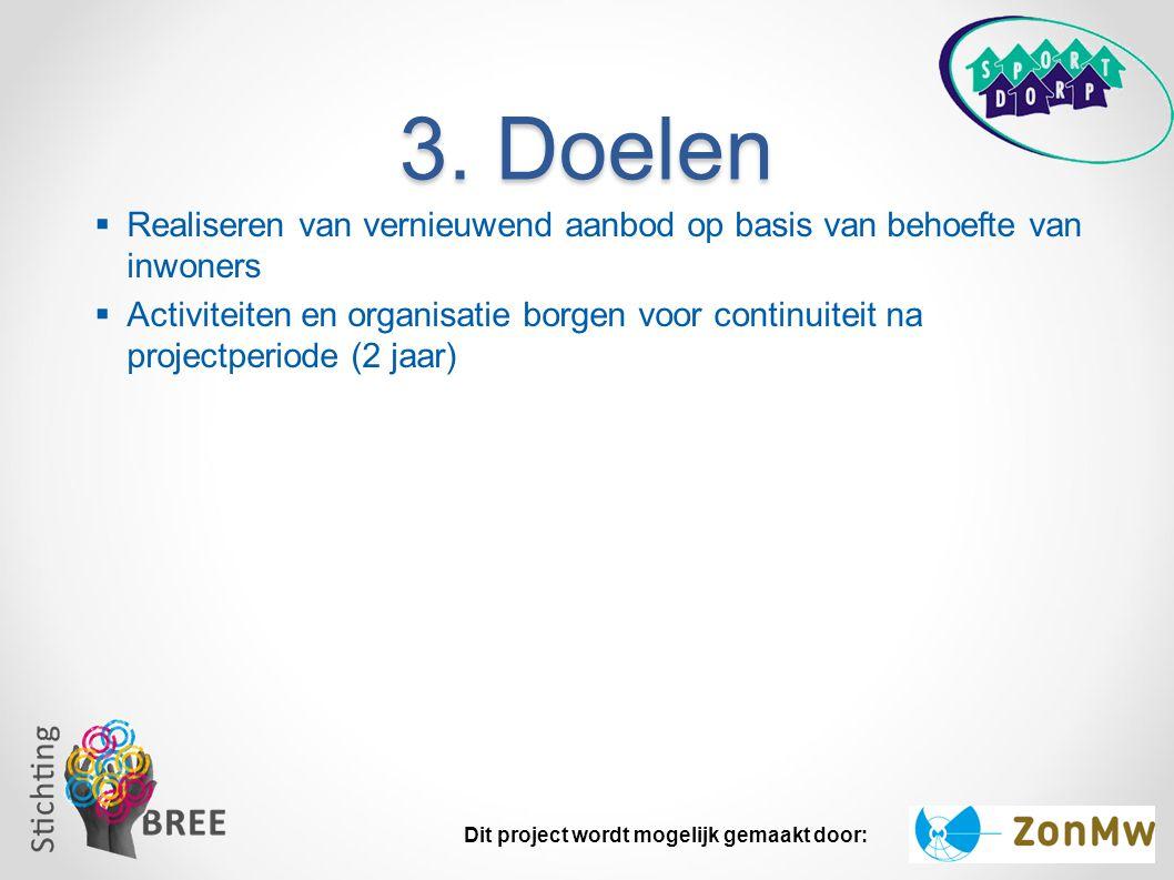 3. Doelen Realiseren van vernieuwend aanbod op basis van behoefte van inwoners.