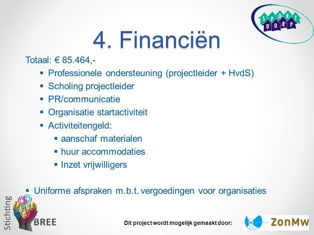 4. Financiën Totaal: € 85.464,- Professionele ondersteuning (projectleider + HvdS) Scholing projectleider.
