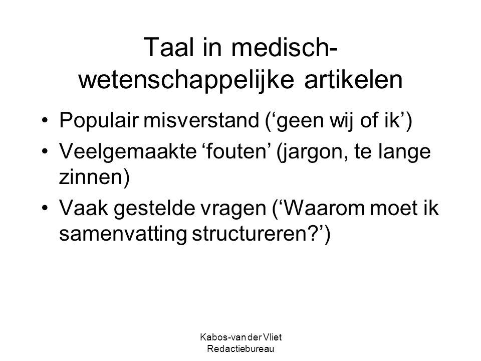 Taal in medisch-wetenschappelijke artikelen