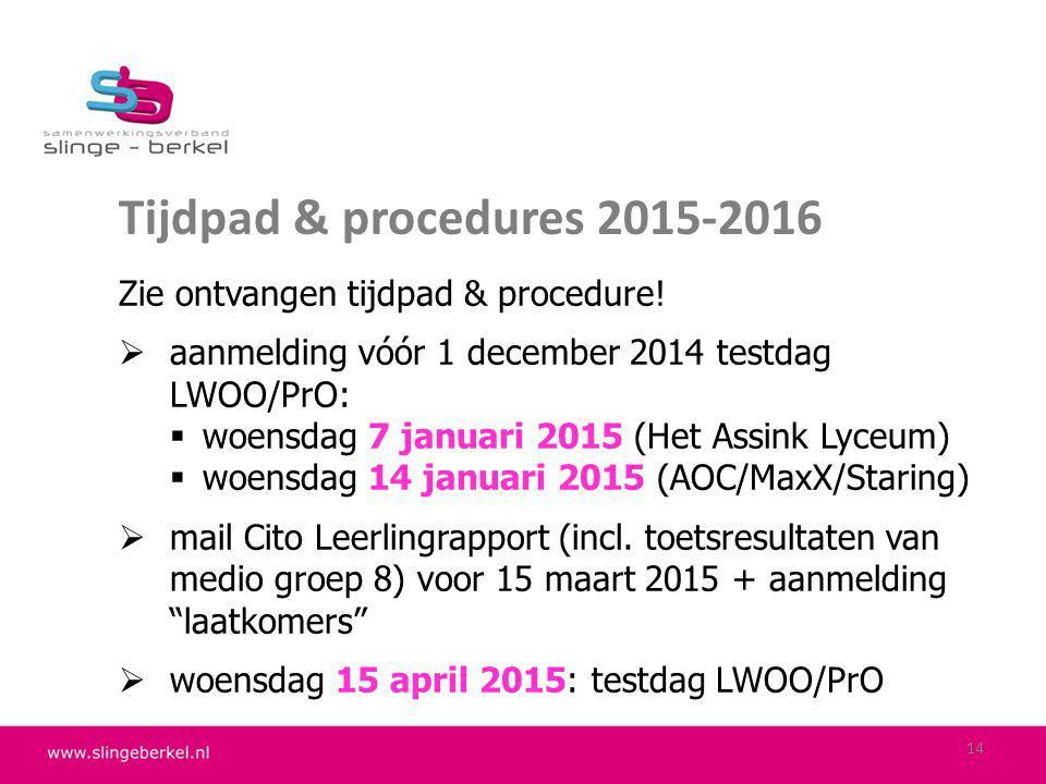 Tijdpad & procedures 2015-2016 Zie ontvangen tijdpad & procedure!