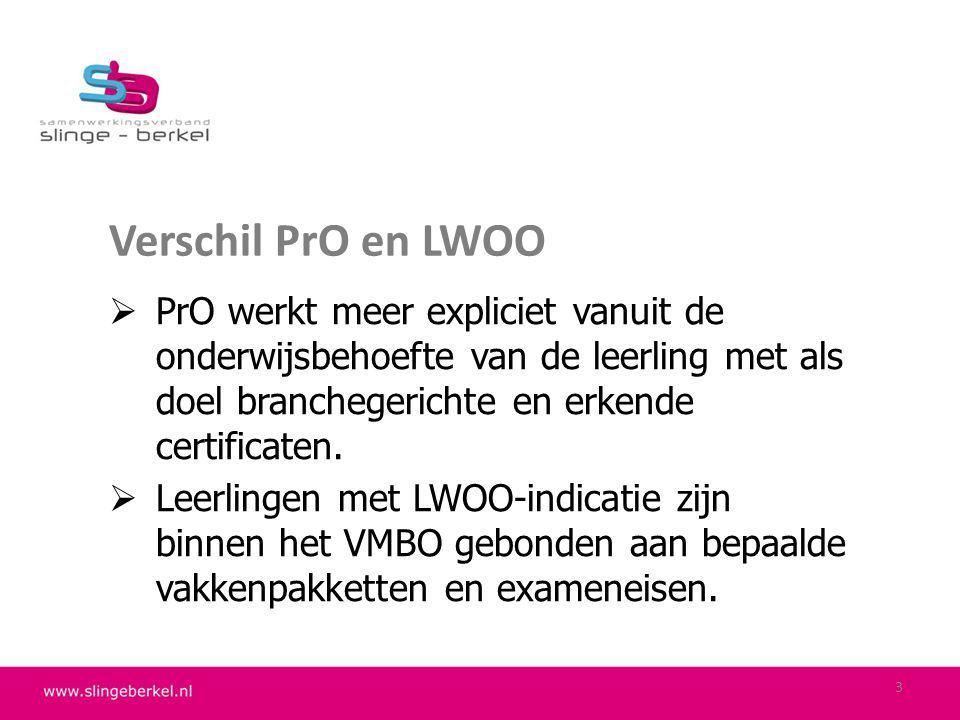 Verschil PrO en LWOO PrO werkt meer expliciet vanuit de onderwijsbehoefte van de leerling met als doel branchegerichte en erkende certificaten.