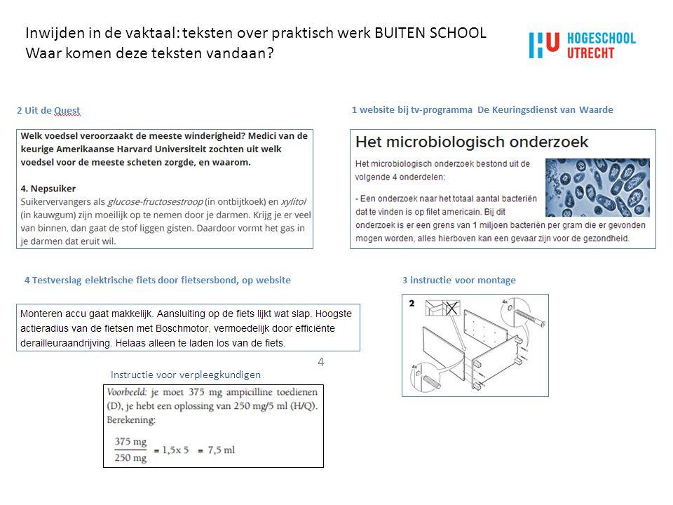 Inwijden in de vaktaal: teksten over praktisch werk BUITEN SCHOOL