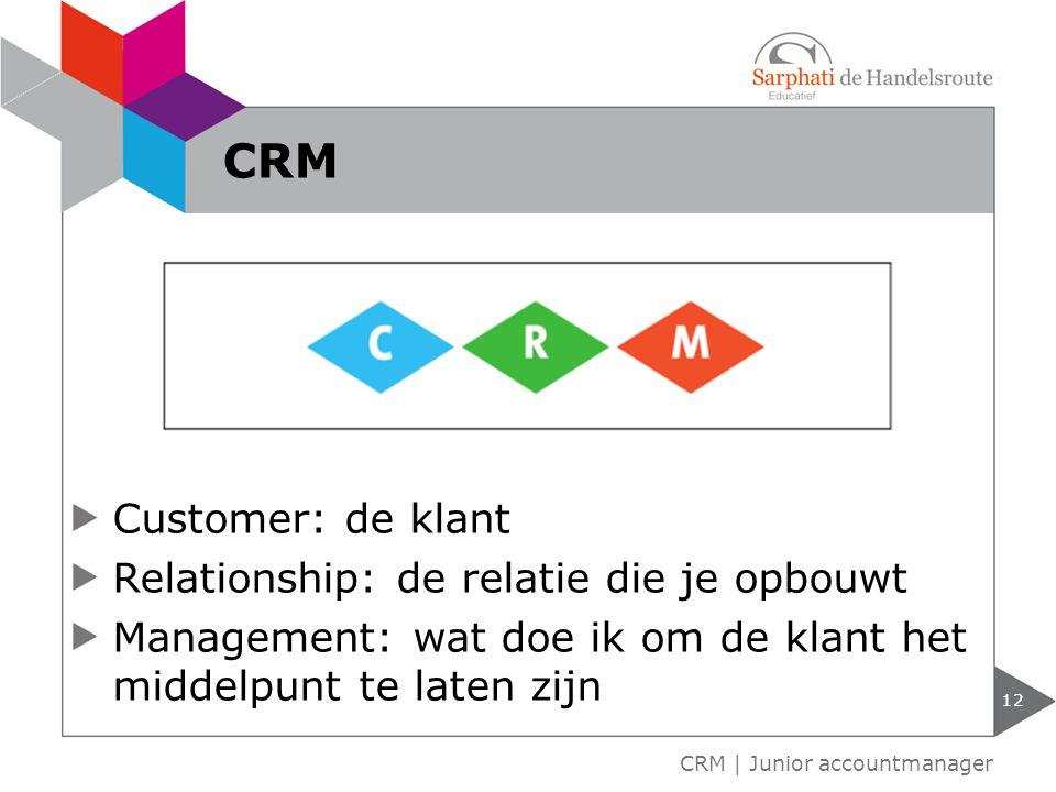 CRM Customer: de klant Relationship: de relatie die je opbouwt