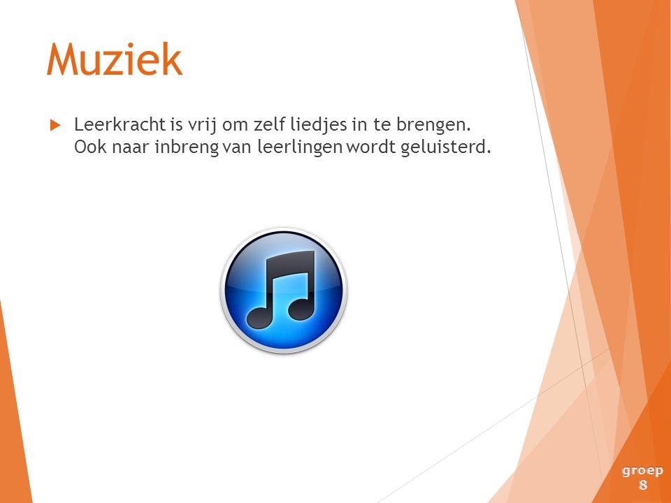 Muziek Leerkracht is vrij om zelf liedjes in te brengen. Ook naar inbreng van leerlingen wordt geluisterd.