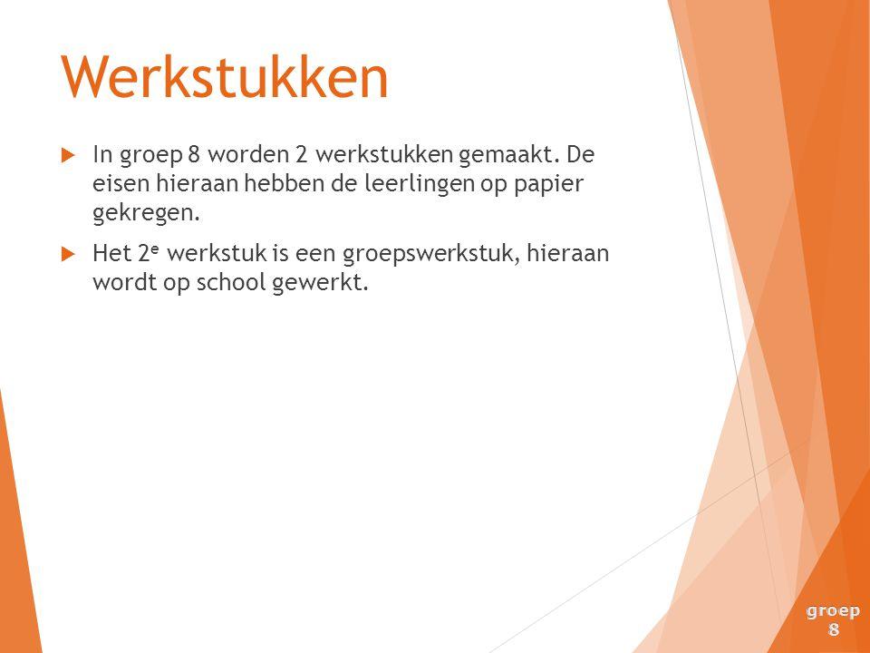 Werkstukken In groep 8 worden 2 werkstukken gemaakt. De eisen hieraan hebben de leerlingen op papier gekregen.