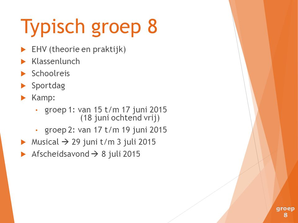 Typisch groep 8 EHV (theorie en praktijk) Klassenlunch Schoolreis