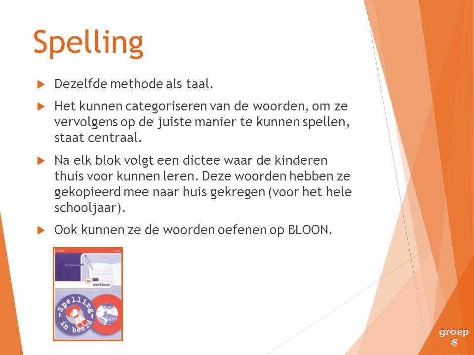Spelling Dezelfde methode als taal.