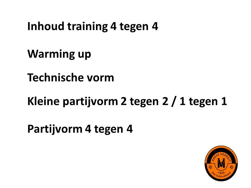 Inhoud training 4 tegen 4 Warming up. Technische vorm.