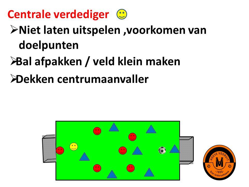 Centrale verdediger Niet laten uitspelen ,voorkomen van doelpunten. Bal afpakken / veld klein maken.