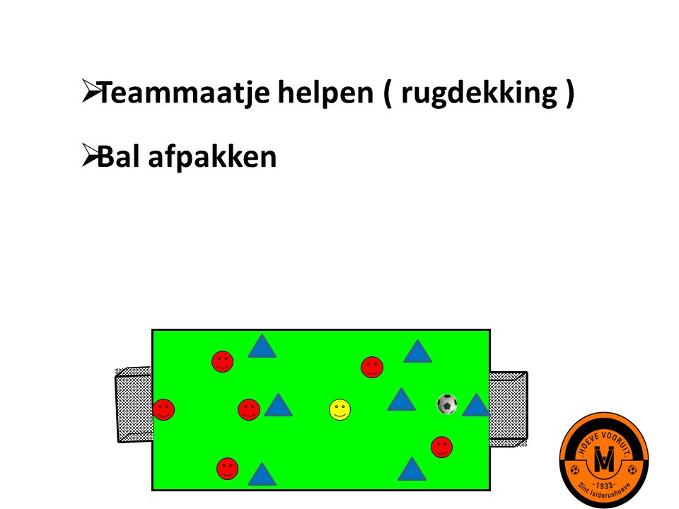 Teammaatje helpen ( rugdekking )