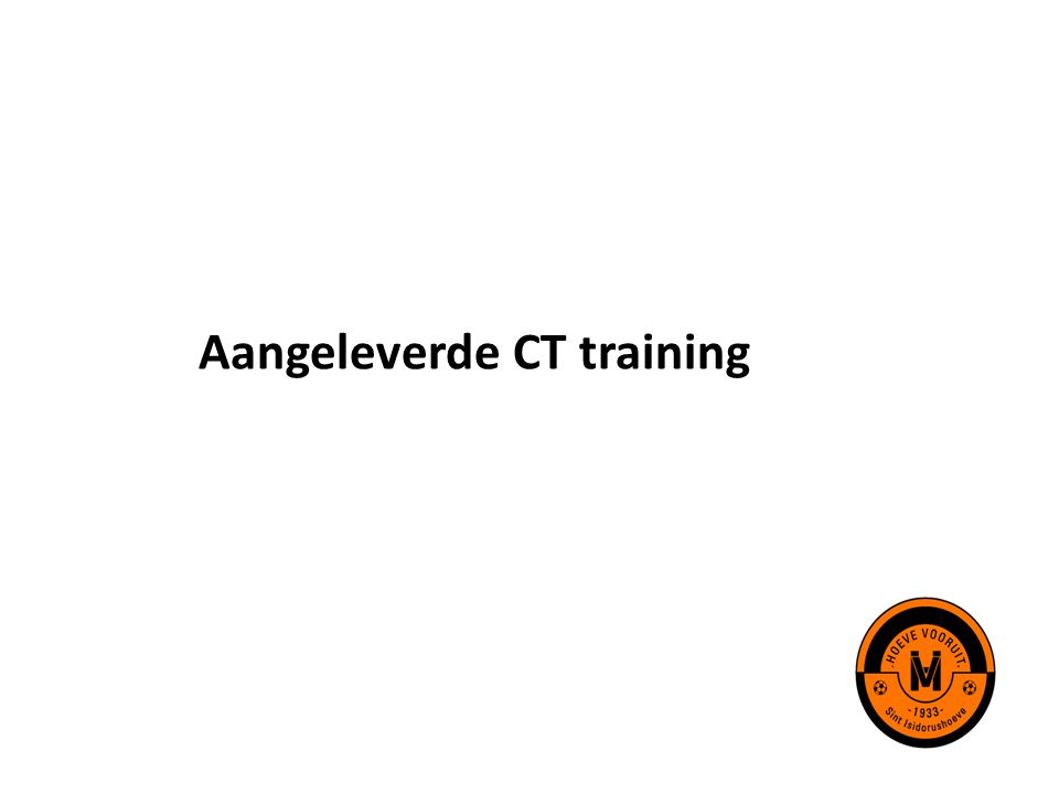 Aangeleverde CT training