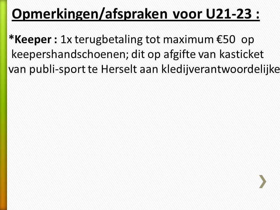 Opmerkingen/afspraken voor U21-23 :