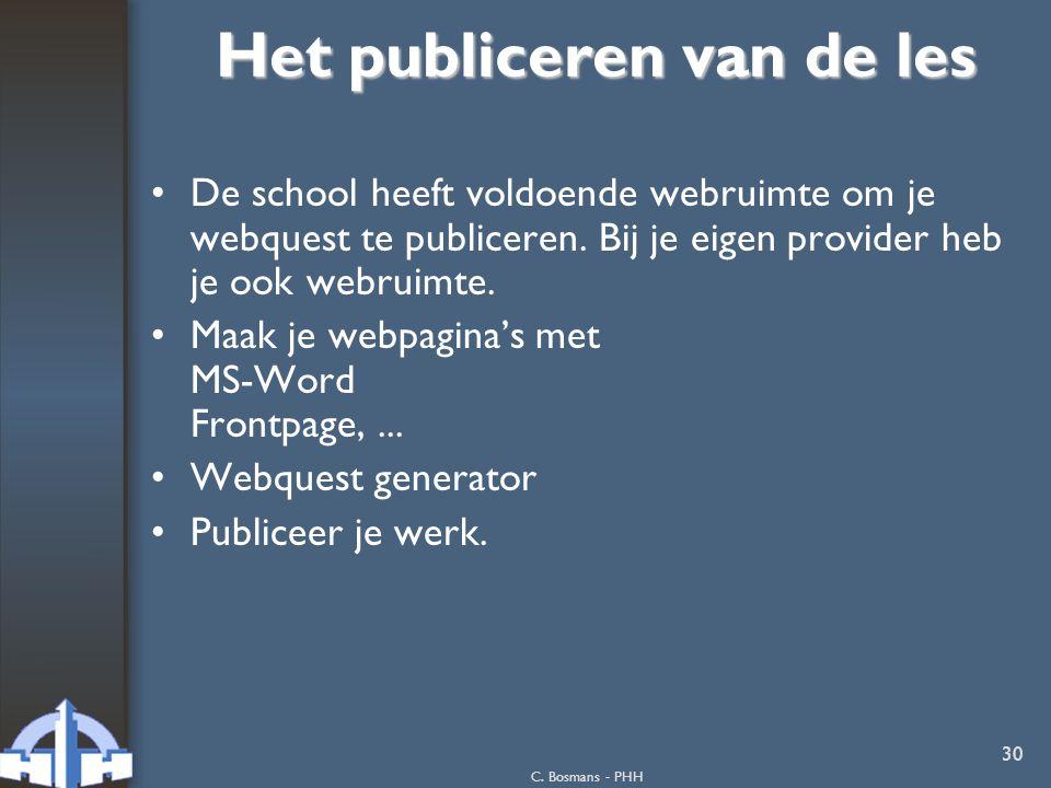 Het publiceren van de les