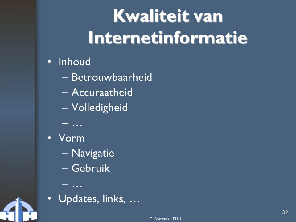 Kwaliteit van Internetinformatie