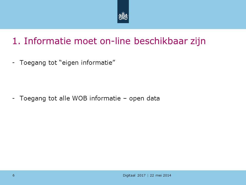 1. Informatie moet on-line beschikbaar zijn