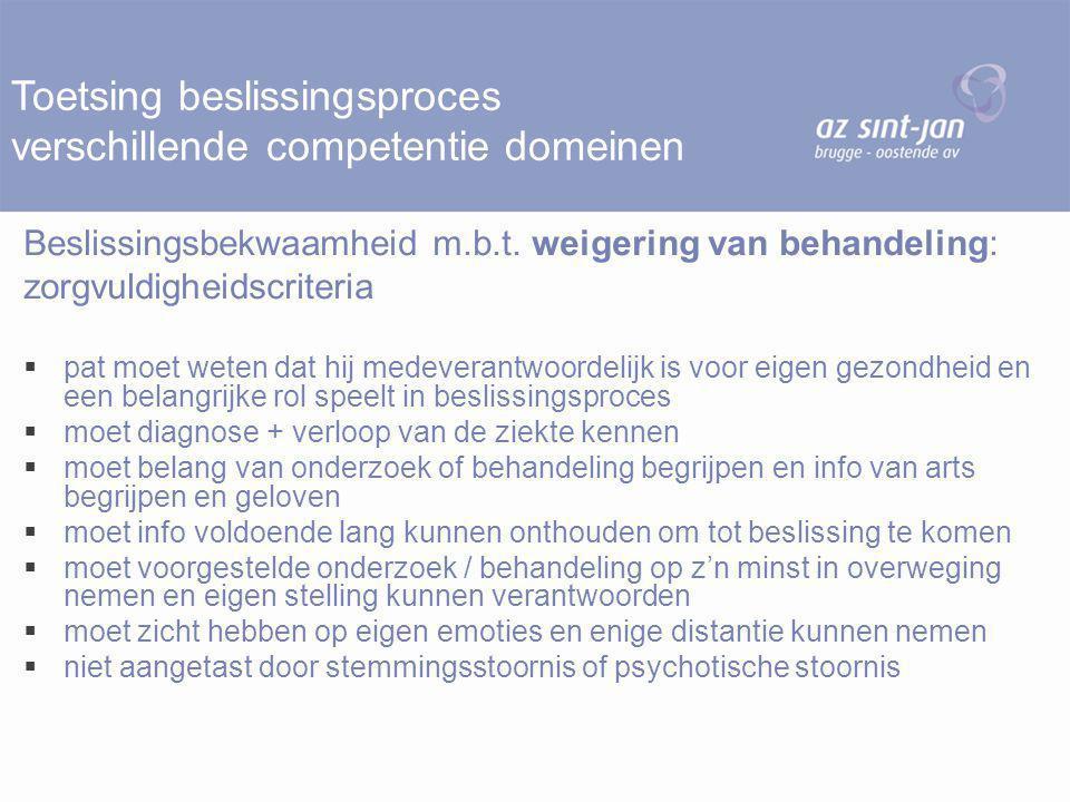 Toetsing beslissingsproces verschillende competentie domeinen