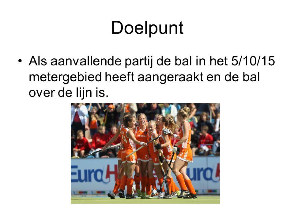 Doelpunt Als aanvallende partij de bal in het 5/10/15 metergebied heeft aangeraakt en de bal over de lijn is.