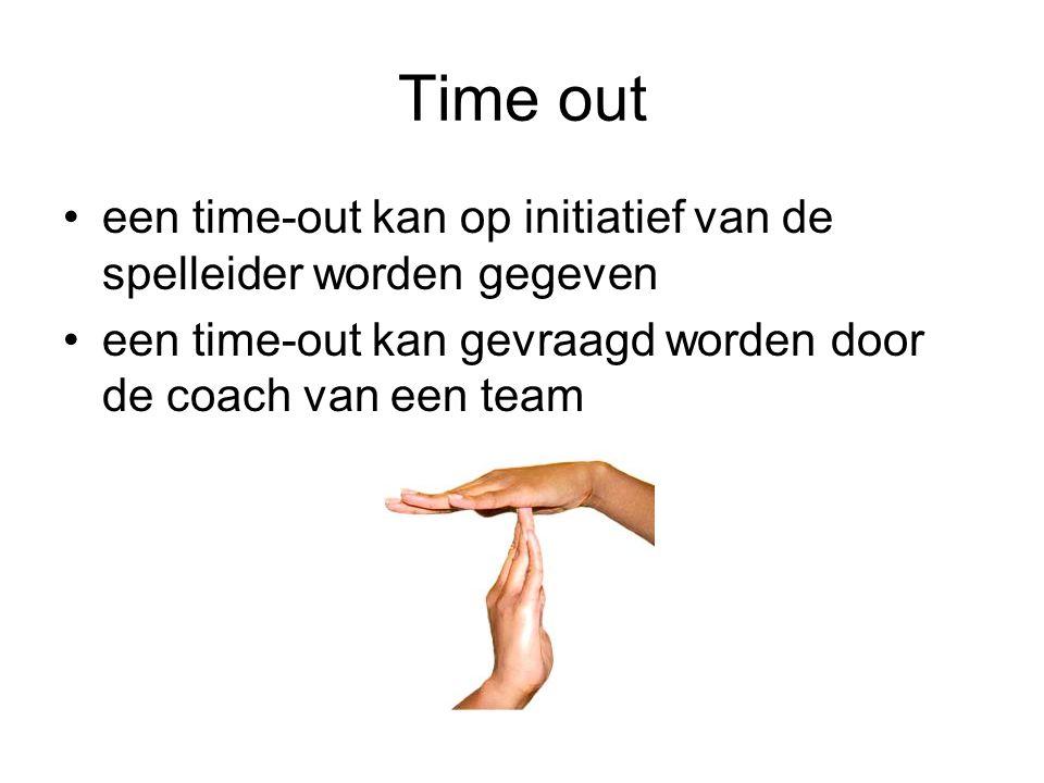 Time out een time-out kan op initiatief van de spelleider worden gegeven.